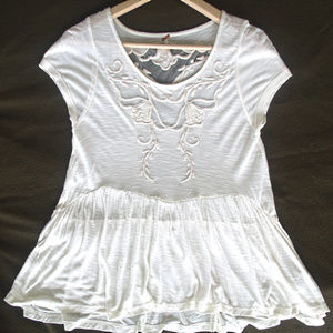 Free People blouse with lace detail